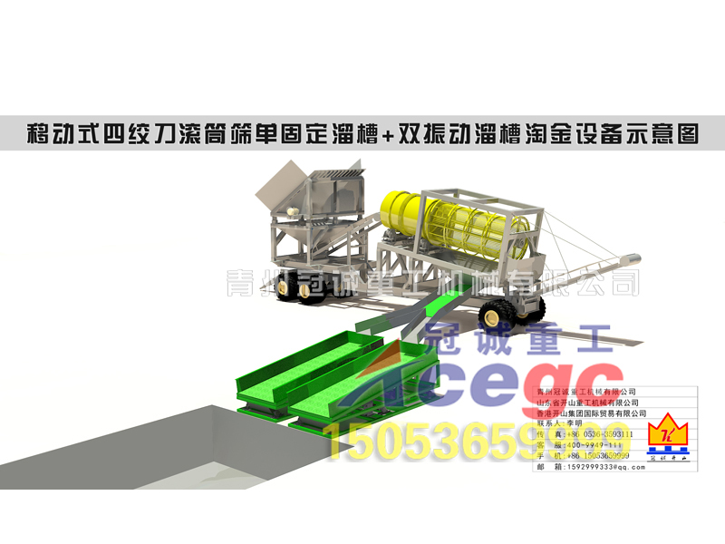 yidong式四jiao刀+滚筒筛+溜槽重选